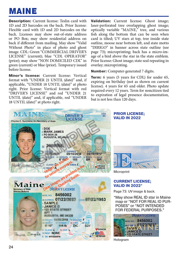 Sample Drivers License for California with full fraud detection instructions